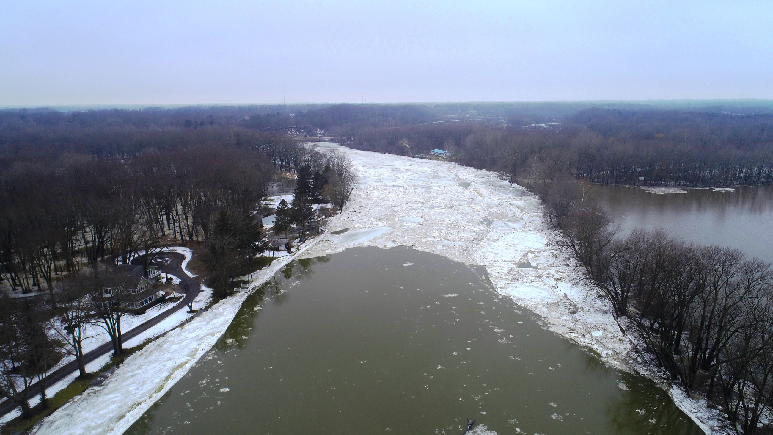 This picture shows ice jamming up at M-139 Highway Bridge blocking flow to the Saint Joseph River.
